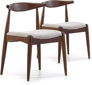 VS Venta-stock Pack 2 sillas Corzo Color Nogal, Madera Maciza, 52,5 cm (Largo) 50 cm (Profundo) 74,5 cm (Alto)