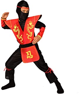 Kids Ninja Costume Childrens Red Black Kung Fu Outfit for Boys & Girls