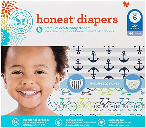 Honest Diaper Club Box - Bicycles & Anchors + Stripes - Size 6 - 44 ct