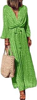 FSSE Women's Long Sleeve Tunic V Cut Print Casual Maxi Long Dress