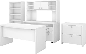 Office by kathy ireland Echo Bow Front Desk, Credenza with Hutch, Bookcase and File Cabinets in Pure White