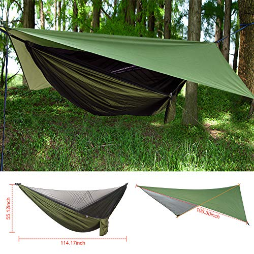FIRINER Camping Hammock with Mosquito Net and Rainfly Tent Tarp Tree Straps, Portable Single Double Parachute Hammock Set for Backpacking Hiking Travel Yard Outdoor Activities