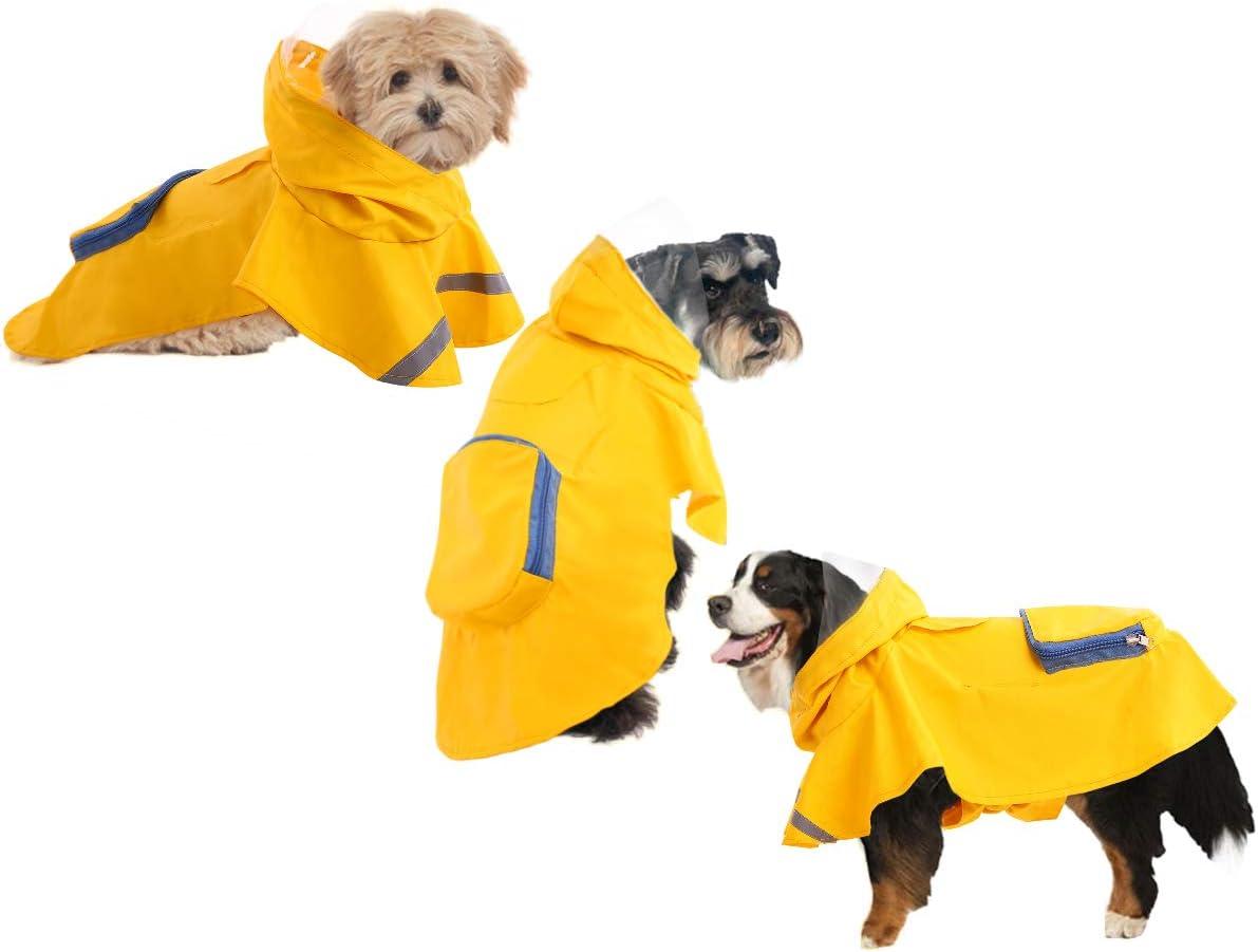 LETSQK Dog Raincoat with Reflective Strips Pocket,Rain Poncho Slicker Jacket for Small Medium Large Dogs