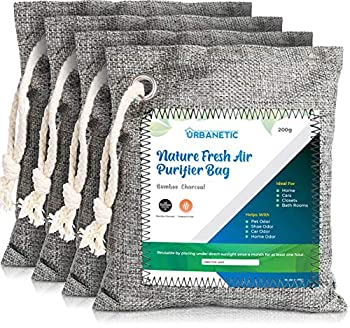 Activated Charcoal Air Purifying Bag - Nature Fresh Bamboo Air Purifier Bags Odor Eliminators For Home Closet Odor Absorber Car Air Freshener Deodorizer For Rooms Absorbers 4 X 200g