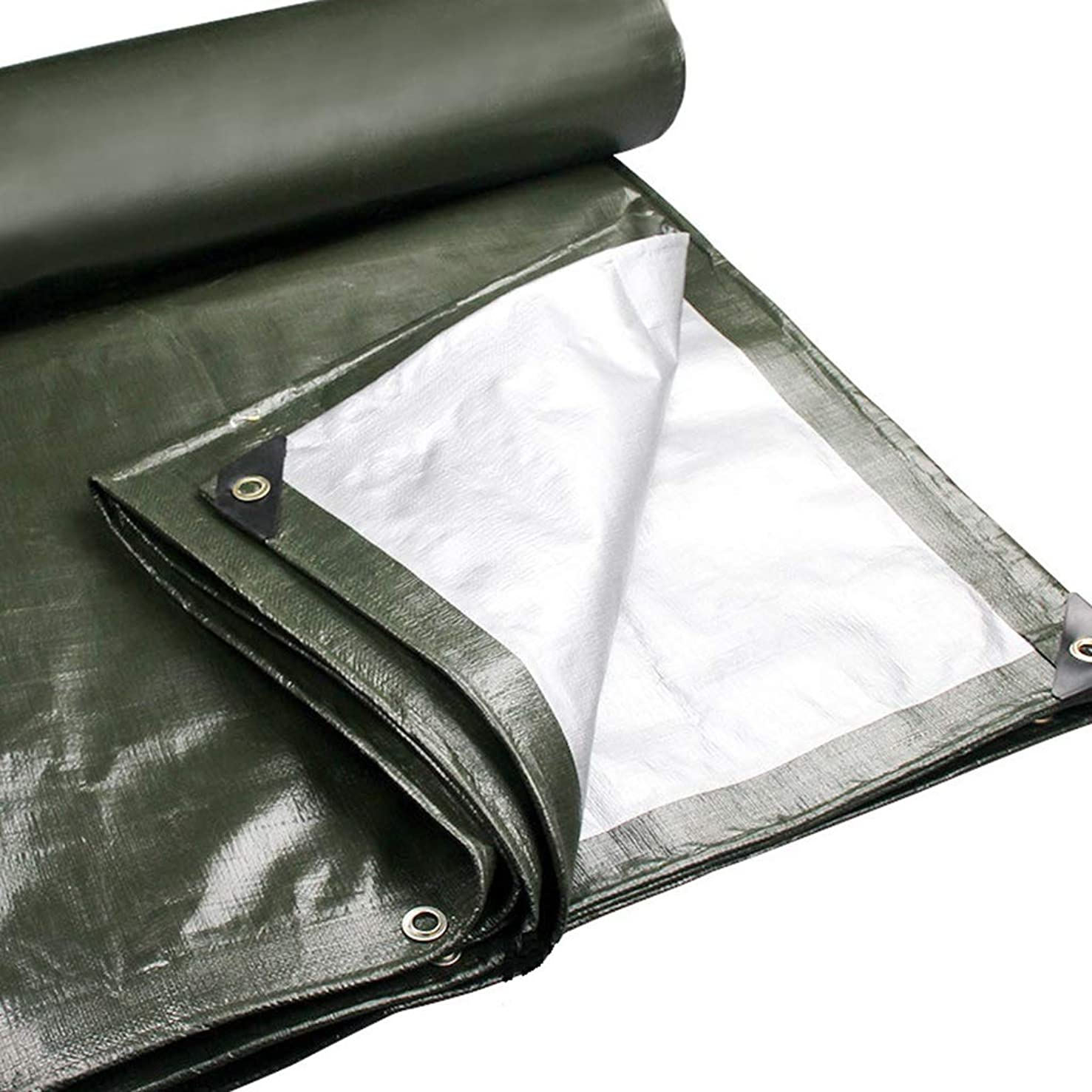 ALWUD Padded Waterproof Tarp Cover, Heavy Duty Tarp Rainproof Camping Tarps Car Multi-Purpose Reversible with Grommets and Reinforced Edges,Army Green_13x16 Feet