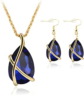 JAGENIE Chic Women Jewelry Set Party Prom Waterdrop Pendant Necklace with Hook Earrings