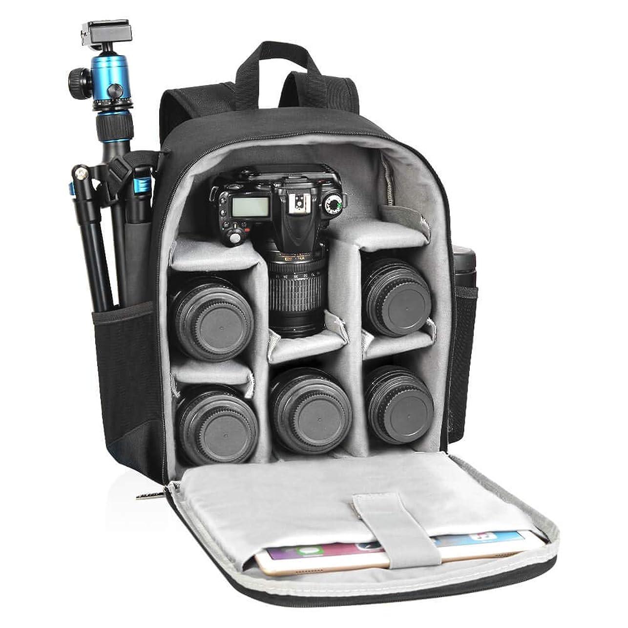 しなければならない小競り合い抽選CADeN防水耐衝撃 カメラばっぐ 一眼レフ/三脚取付可 カメラリュック バック おしゃれ カメラバック カメラリュックプロカメラバックパック (D6 IIブラック)