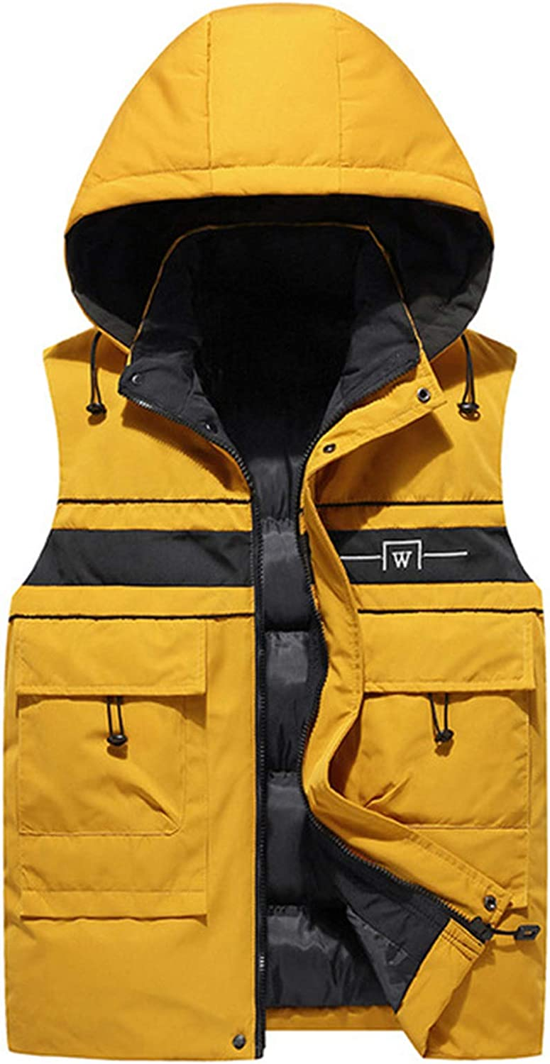 Men's Quilted Vest Hooded Bodywarmer Gilet Sleeveless Puffer Jacket with Pockets