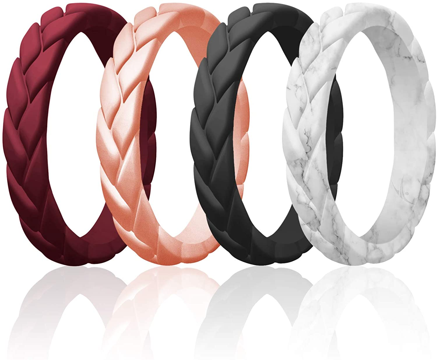 ROQ Silicone Rings for Women Thin Womens Silicone Rubber Wedding Rings Bands - Bridal Jewelry Set Promise Rings Anniversary Rings - Flame Leaves Collection - Can Be Used as Stackable Rings
