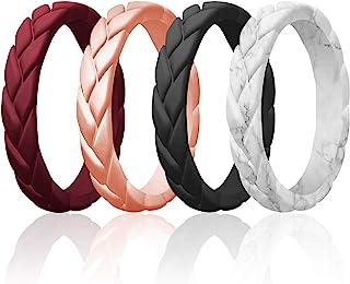 حلقه های سیلیکونی ROQ برای زنان 1/2/4/6 چند بسته باندهای حلقه عروسی لاستیکی سیلیکون زنان نازک - مجموعه برگهای شعله بافته شده - می تواند به عنوان حلقه های قابل جمع شدن استفاده شود