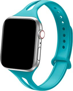 Bandiction Sport Band Compatible with Apple Watch 38mm 40mm, Soft Silicone Sport Strap Replacement Narrow Bands for iWatch Series 4 3 2 1 Sport Edition Women Men (Teal)