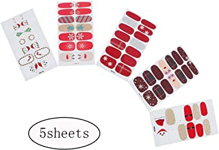 Lakkio 5 Sheets Christmas Nail Stickers Nail Decals for Christmas Self-adhesive DIY Nail Art Nail Decoration for Party Colorful Printed Stickers for Festival New Year Gift for Women/Girls