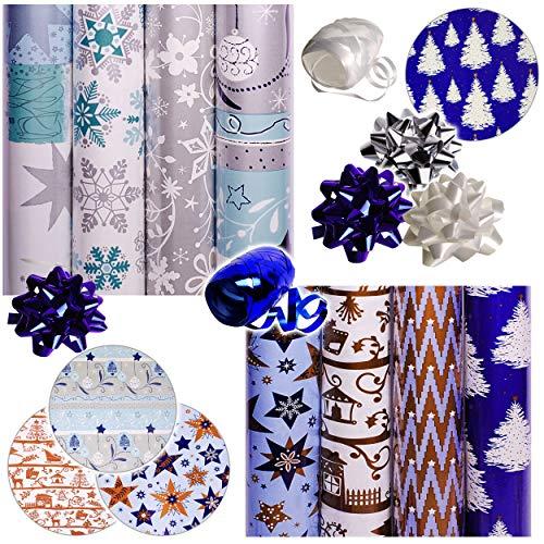 alles-meine.de GmbH 26 TLG. XXL Set: Geschenkpapier - Weihnachten - 8 Rollen + 14 Schleifen + 40 m Schleifenband - edel - blau, weiß & Silber - Geschenkschleifen - Geschenkpapier..