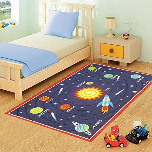 Lado Pianeti Blu Tappeto per Bambini. Space, Universe Design. Grandi Dimensioni 100x 190cm Antiscivolo su Pavimenti duri. Regno Unito Continentale affrancatura Solo