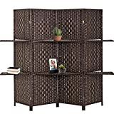 Room Divider Room Screen Divider Wooden Screen Folding Portable partition Screen Wood with Removable Storage Shelves Colour Brown ,4 Panel/6 Panel (4 Panel)