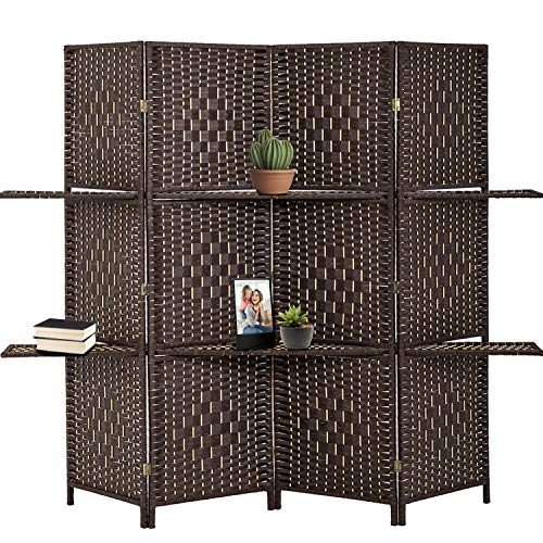 Best Deals! FDW Room Divider 4 Panel Room Screen Divider Wooden Screen Folding Portable partition Sc...