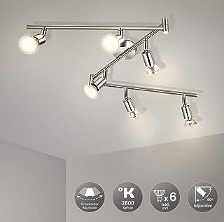 Plafonnier LED 6 Spots Orientable Wowatt 6W Lumière Plafonnier Spot 2800K Blanc Chaud 6 GU10 Ampoules Incluses AC230V 600L...
