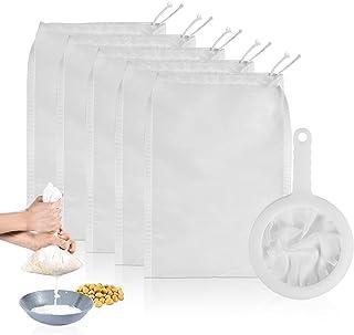 Haosens 6 stuks Herbruikbaar Notenmelkzak Passeerdoek, Voedselzeven filterdoek Filterzak & Filterzeeflepel - Voor kaas bes...