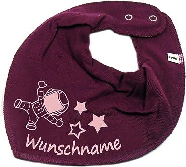 HALSTUCH Eule mit Namen oder Text personalisiert dunkelblau f/ür Baby oder Kind