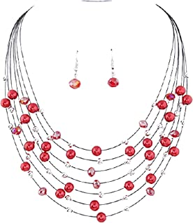 Shymuh Layered Crystal Bead Necklace Multi-Strand Pearl Choker Necklaces Dangling Earrings Set Layered Choker Freshwater P...