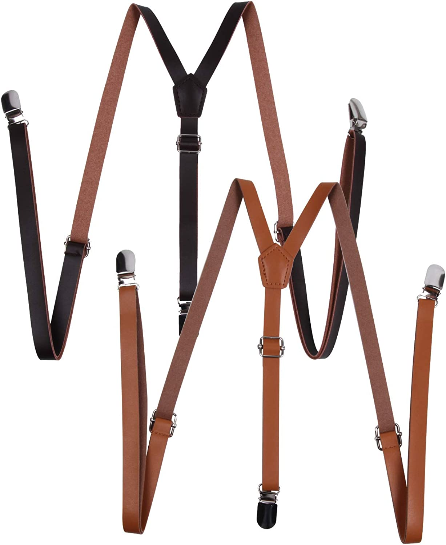 Y Back Convertible Suspenders 1/2 inch Men's Microfiber PU Leather Trigger Snap Suspenders