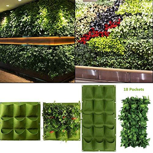 balcony wall garden H ONG Flower Pouch Hanging Flower Bags 9 18 Pocket Vertical Green Wall Garden Plant Planting Pot Basin Garden Garden Decoration Balcony Terrace Wall