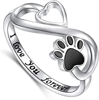 DAOCHONG Puppy Pet Lovers Paw Print Ring Love Heart 925 Sterling Silver Animal Ring Pet Animal Jewelry Love Dog Cat Claw R...
