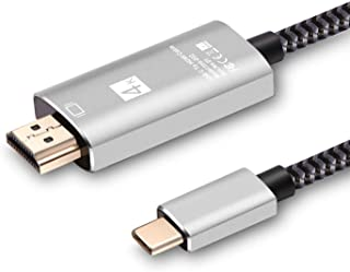 USB C to HDMI Cable, USB Type-C to 4K HDMI Adapter by GAOJAY, (Thunderbolt 3 Compatible) and Compatible with MacBook Pro/Air 2019/2018, iPad Pro 2019/2018, Samsung S10/S9/HP/HW (6ft)