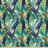 ABAKUHAUS Vögel Gewebe als Meterware, Scarlet Ara