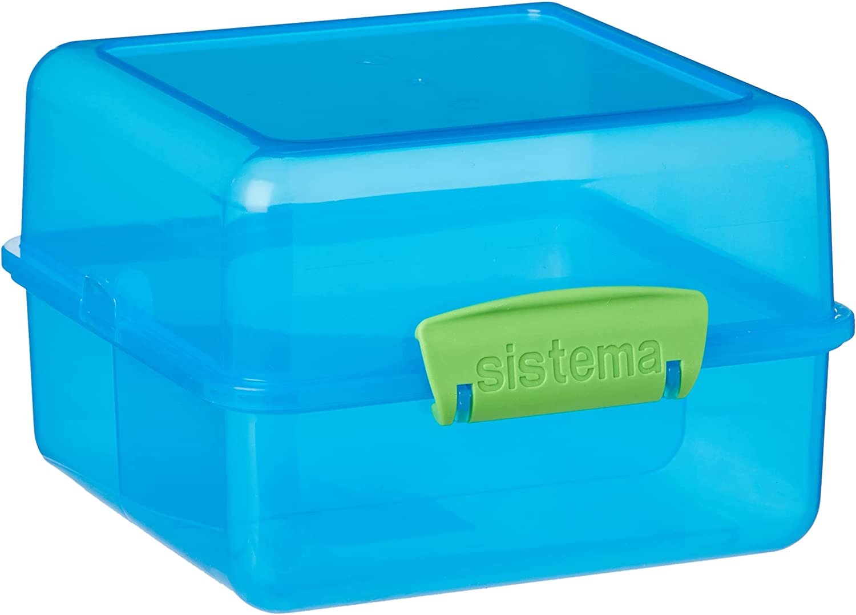 Sistema - Merendera, diseño Cuadrado, plástico, Azul/Verde, 14.5 x 15 x 9.5 cm
