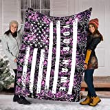 Sherpa, Minky, Fleece Blanket Personalized Blanket for Country Girl, Pink Muddy Girl Camo American Us Flag Camo Soft Throw Fleece Blanket, Gifts for Muddy Girl