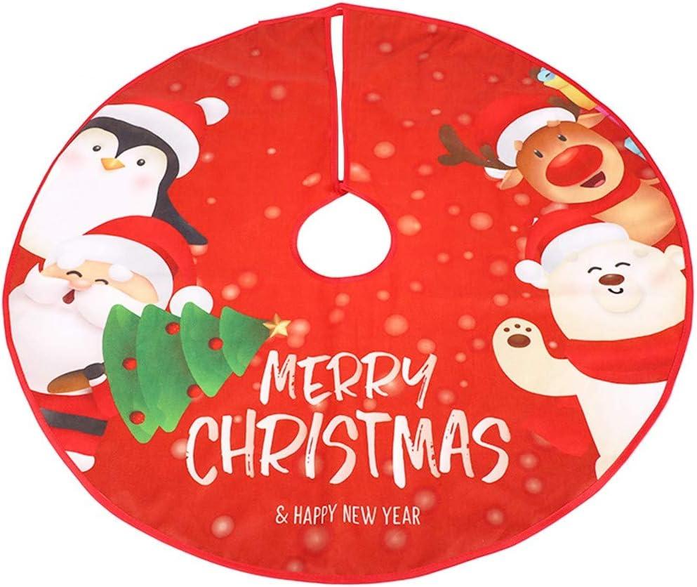 FANDE Faldas de árbol de Navidad, Christmas Tree Skirt, Base de árbol de Navidad Falda, con Santa Claus y Alces Patrón, para Navidad Fiesta de año Nuevo Vacaciones en Casa Decoración (Rojo, 90cm)