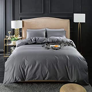 MOOMEE Duvet Cover Set 100% Egyptian Cotton Luxury Solid Bedding Linen 800 Thread Count Long Staple Sateen Super Soft Breathable (Queen, Dark Gray)
