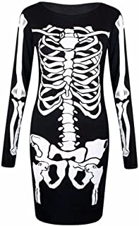 Womens Long Sleeves Halloween Costume Skull Hand Skeleton Dress, Cap Sleeves Top & Leggings (Small-3X)
