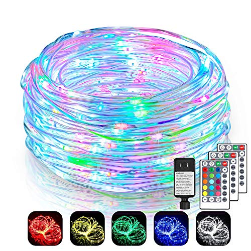 2 Pack 99Ft LED Rope Lights Outdoor, 16 Colors Outdoor String Lights with 300 LEDs, Remote Control Waterproof Fairy String Lights Plug in for Bedroom, Indoor, Patio, Home Décor