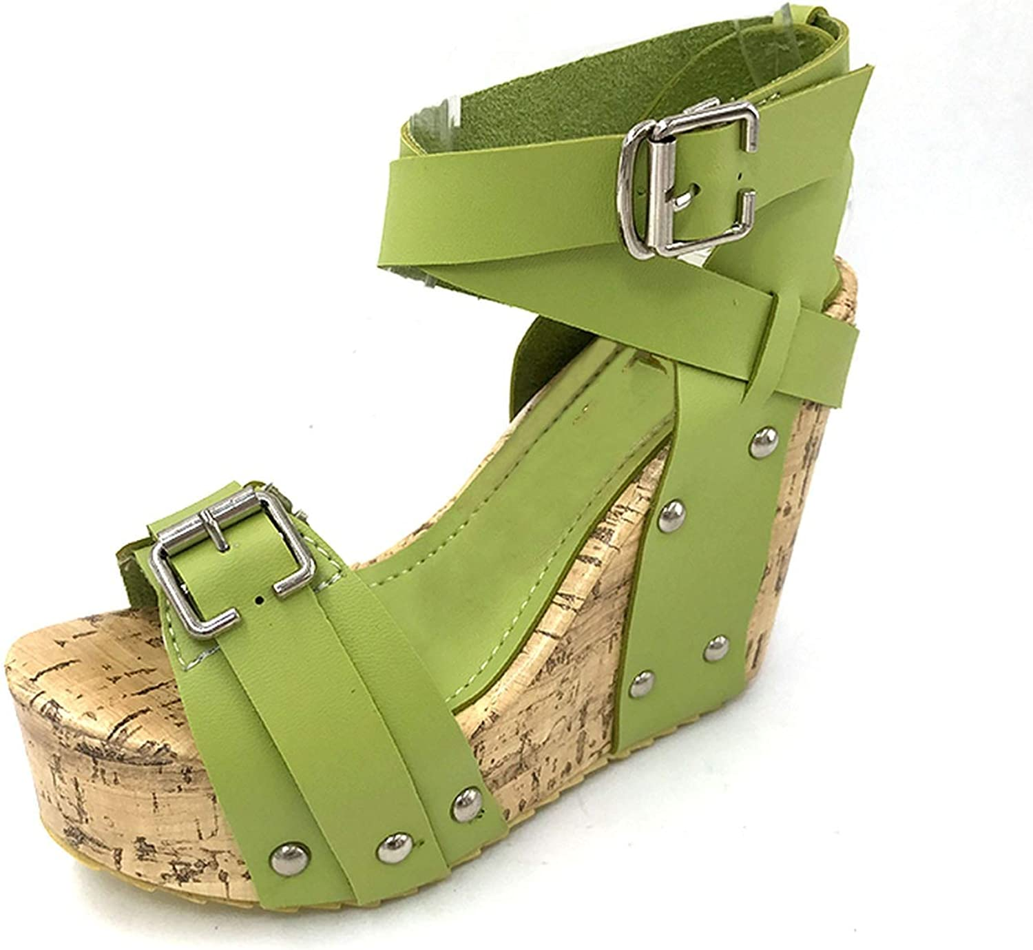 Fairly Heel Wedge shoes Fashion Dress Sexy Slippers shoes P5850 EUR Size 33-40,Green,9