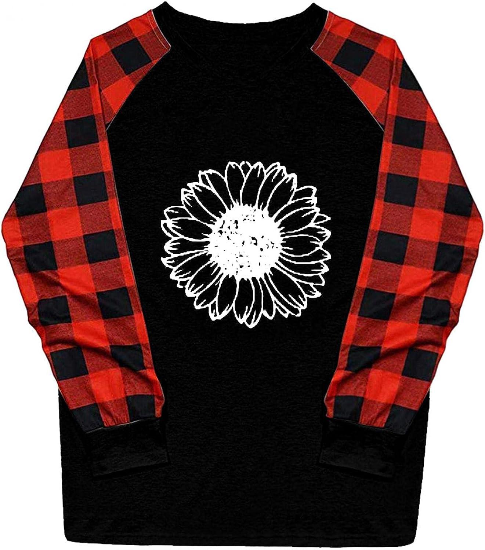 UOCUFY Sweatshirt for Women, Womens Casual Long Sleeve Tops Blouse Plaid Shirts Crewneck Cute Printed Raglan Pullover