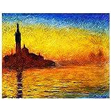 Legendarte Cuadro Lienzo, Impresión Digital - Crepúsculo En Venecia Claude Monet, cm. 80x100 - Decoración Pared