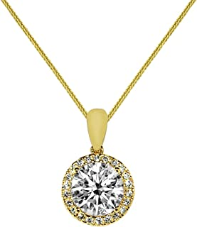 Precious Stars Jewelry 14k White Gold 9mm Round-Cut CZ Crown Halo Pendant with 0.8-mm Wheat Chain