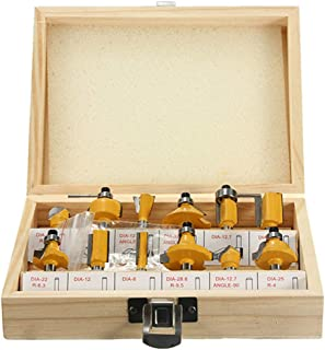 Iusun 12PC 1/4'' Professional Shank Tungsten Carbide Router Bit Set with Wood Carry Storage Case Multi Piece Woodworking Hardwood Tool Kit- Ship For USA (Yellow)