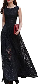 Women Black Organza Plaid Print Skater Elegant Long Maxi Dress
