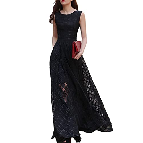 f224c9319387e Clothink Women Black Organza Plaid Print Skater Elegant Long Maxi Dress