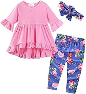 gllive Baby Girls' 3 Piece ' Outfit Set Boho Tunic Tops + Floral Legging Pants + Headband