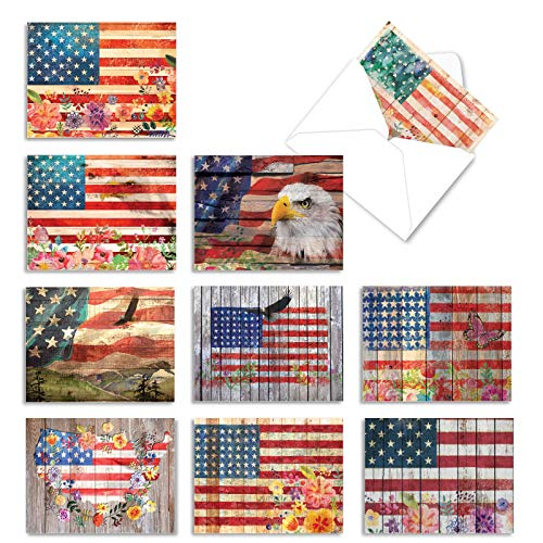 10 �Artful Flags' Thank You Notes in Red, White and Blue, Boxed Set of Rustic American Flag Cards with Envelopes 4 x 5.12 inch, Stars and Stripes Patriotic Gratitude Greeting Cards M6580TYG