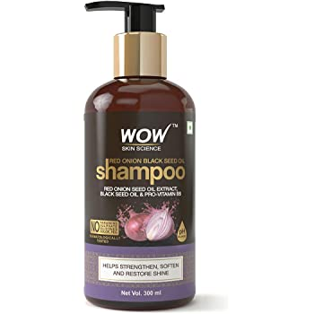 WOW Skin Science Red Onion Black Seed Oil Shampoo With Red Onion Seed Oil Extract, Black Seed Oil & Pro-Vitamin B5 - No Parabens, Sulphates, Silicones, Color & Peg, 300 ml