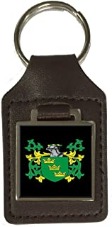 Derby Family Crest Surname Coat Of Arms Brown Leather Keyring Engraved