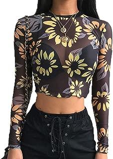 Womens Sexy Black Shirt Long Sleeve Angel Print Mesh Top Sheer See Through Blouse Crop Tops for Women