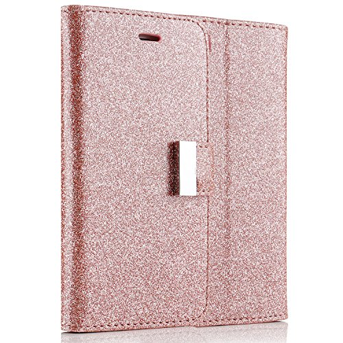 Samsung Galaxy S7 (5.1 inch) Case,L-FADNUT Premium Bling Glitter Flip PU Leather Case,Dual 5 Card Slots Metal Magnetic Closure with Stand Wallet Silicon Bumper Protective Cover Glitter Rose Gold