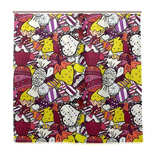 KIMDFACE Duschvorhang 122x183cm,Kuchen Kappen Kegel Packpapier,Schimmelresistenter Wasserabweisend Shower