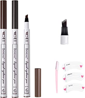 3PCS Eyebrow Tattoo Pen, Microblading Eyebrow Pencil with a Micro-Fork Tip Applicator Long Lasting, Waterproof, SmudgeProof For Fuller Natural Looking Brows